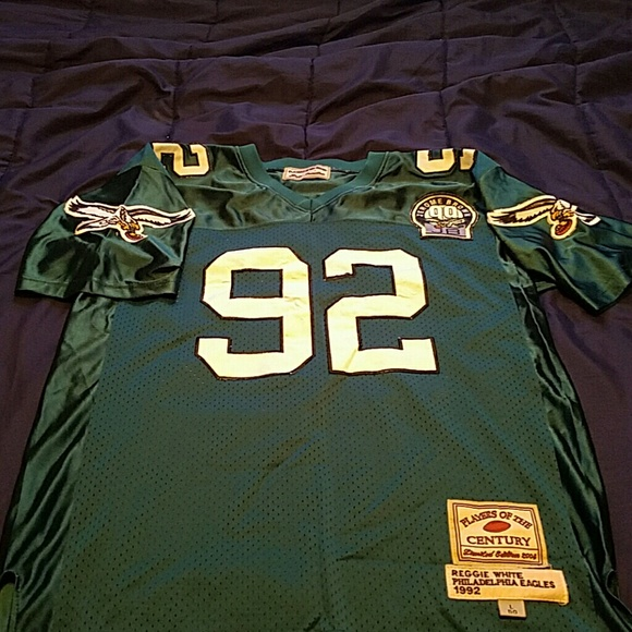 big sale 91fed 18ff4 Throwback Eagles #92 R.White Jersey W/JBrown Patch